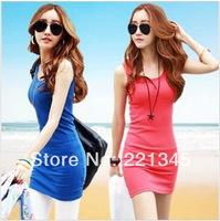 2014 sleeveless one-piece dress  slim basic plus size clothing vest vintage