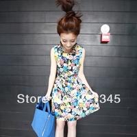 2014 summer fashion chiffon basic shirt female preppy style vintage sleeveless one-piece dress
