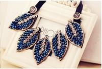 fashionable Korean Style gold leaves vintage False Collar choker Necklace statement Crystal Beads Handmade women jewelry JNZ23