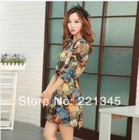 2014 spring women's vintage print plus size three quarter sleeve chiffon one-piece dress female summer