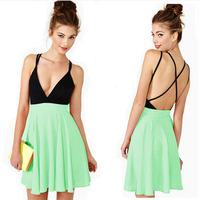 2014 New fashion color block deep V neck spaghetti strap backless chiffon dress,plus size XXXL sexy party dress,mini dress