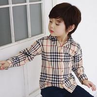2014 spring plaid paragraph boys clothing baby child long-sleeve shirt t-shirt tx-2771