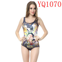Cartoon Luffy Zoro Nami Usop Sanj Choppe Pattern Digital Print White One Pieces Swimwear Sleeveless Backless Women YQ1070