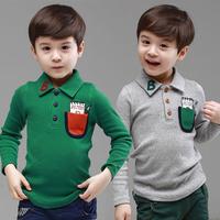 2014 spring and autumn boys clothing baby child long-sleeve turn-down collar t-shirt basic shirt tx-2551