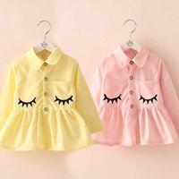 2014 spring eyeholes print girls clothing baby child ruffle shirt tx-3290