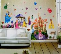 Free Shipping Huge Princess Castle Removable 3D DIY PVC Cartoon Wall Sticker/Art Wall Decal Home Decor 2pieces/Set