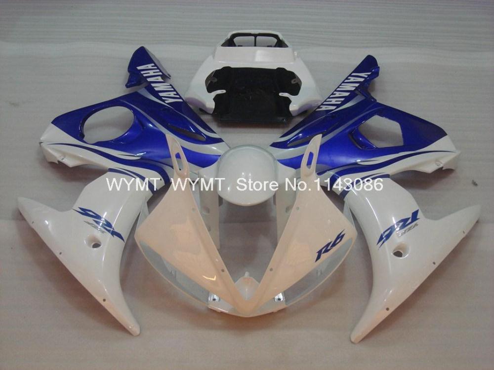 Plastic Fairings YZFR6 2003 Blue White Red Flame Plastic Fairings YZFR6 2004 Details 03 04 05(China (Mainland))
