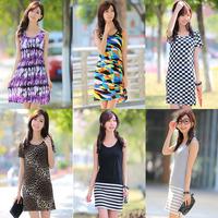 Q161 2014 spring and summer tank dress o-neck 100% cotton leopard print suspender skirt medium skirt one-piece dress