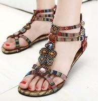 2014  Ethnic Style New Fashion lady bohemian casual flat  sandals women Roman sandal large size 34-41 Free Shipping