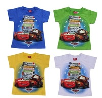 wholesale! 5color  2014 Summer Hot Car boys t shirt cartoon t shirt short sleeve t-shirts for children Kids baby boys clothing