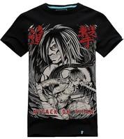 summer short-sleeve men Attack on titan Eren Jaeger t shirt men 100% cotton