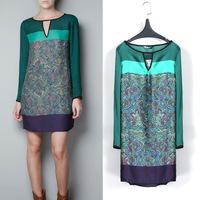 2014 Summer Fashion Lady Green Chiffon Long Sleeve Women Floral Emerald Casual Loose Dress S/M/L