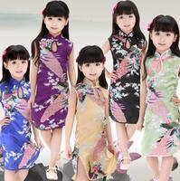 2014 new Retro Chinese Kid Child Girl Baby Peacock Cheongsam Dress / Qipao/chi-pao/cheongsam 1-8Y Clothes
