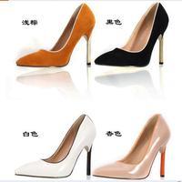 Elegant 2014 border unique shoe heel velvet shallow mouth pointed toe high-heeled shoes,flock upper material stiletto heel pumps