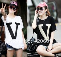 2014 Fashion Women Summer Long Loose Tee Shirt Modal Short Sleeve V Letter Print O-Neck T Shirts 1 Pcs/Lot Free Shipping