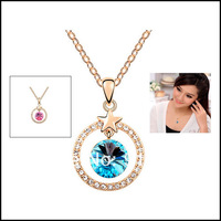 New Free shipping Dimond Austria crystal 18K Gold Pated blue/pink Crystal Necklace & pendants Fashion Jewelry For Wonem Gifts