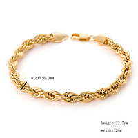 """Thick heavy !!! european fashion 9"""" 7mm 26 grams men's gold rope chain wide charm bracelets & bangles 18K yellow  gold GP filled"""