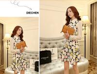 2014 Spring New Korean Women Slim Doll Collar Long-Sleeved Floral Chiffon Dress ,Free Shipping