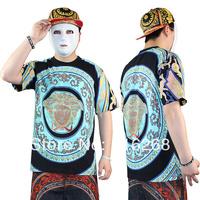 Graffiti printing short sleeve Personalized T-shirts  Hip-hop fashion street dance clothes European Trend  printing