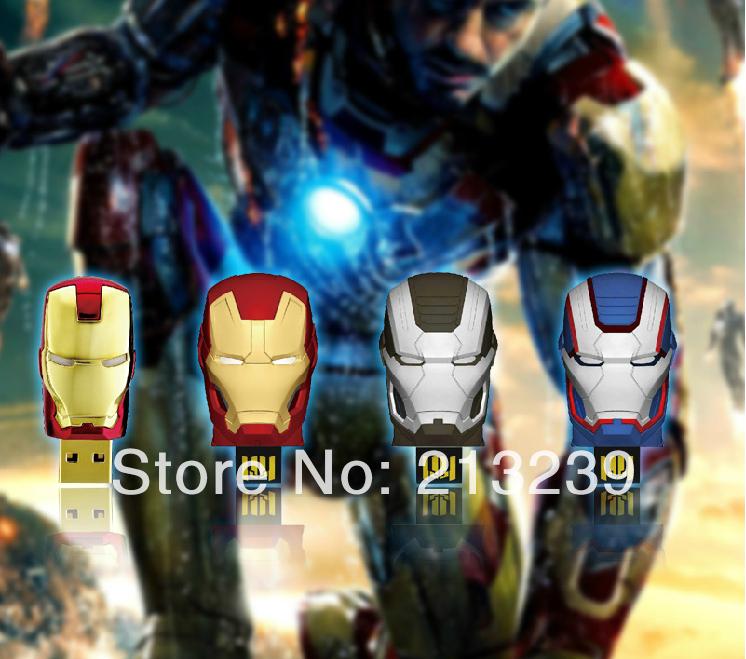 10pcs/lot New Fashion LED light Iron man heads usb 2.0 memory flash stick pendrive Freeshipping Genuine 4gb/8gb/16gb/32gb(China (Mainland))