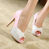 Rhinestone pump sexy fish mouth singles shoes heels 2014 hgh