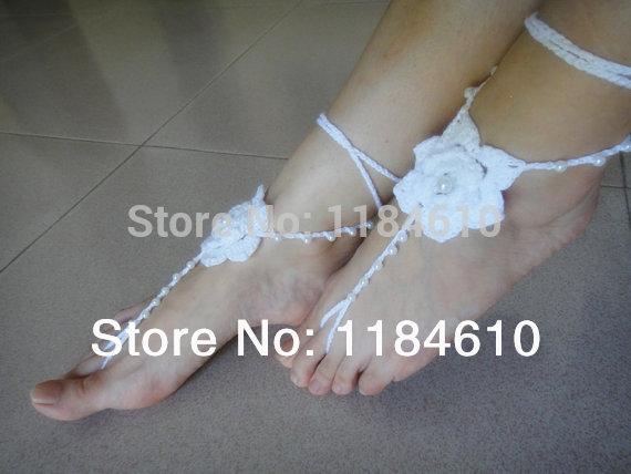 Sandálias sapatos sapatos de casamento de praia Boho jóia frisada barefoot Sandals toe tangas Boho chic(China (Mainland))