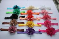 Trial order 10pcs/lot  Flower Headbands infant headbands fabric flower headbands girls hair accessories 15 colors STOCK