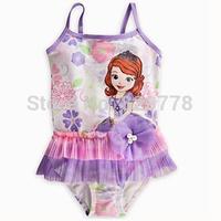 On Sale ! Frozen Anna Costume kids Sophia Princess Swimsuit Veil Children Bath Suit Cartoon Swimwear Girls Swimwear Bikini 2-8