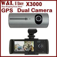 "Free Shipping x3000 Car Cvr Dual Camera Dash Camera Video Recorder 2.7"" LCD G-Sensor Dual Lens Black Box with GPS Logger"