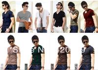 Fashion 2014 Men Army Skinny Tee Shirt Lycra Cotton Short Sleeve Short Sleeve T Shirt Commando Armband T-Shirt 1 Pcs/Lot