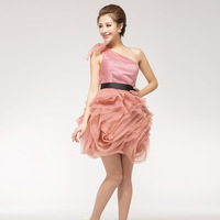 Costume one shoulder bridesmaid dress costumes puff skirt formal dress