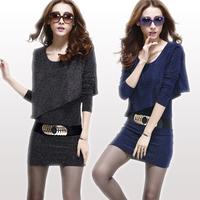 With belts!2014 spring women's sexy slim elegant slim hip autumn long-sleeve basic one-piece dress S-XXL