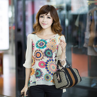 L-4XL Plus Size 2014 spring and summer fat women clothing o-neck half sleeve flower print chiffon shirt casual loose blouses