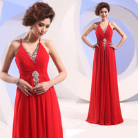 2013 deep V-neck diamond red evening dress long design married the bride evening dress costume