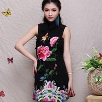 Akkadian women's fluid 2014 summer embroidered national trend women's embroidery one-piece dress sleeveless tank dress