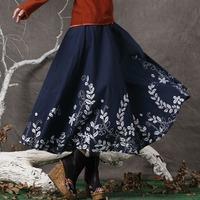 Fluid national trend bust skirt 2014 spring linen bust skirt women's fluid print half-length expansion skirt