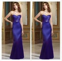 Fashion Beaded Sweetheart Bridesmaid Dresses Beautiful Blue Adult  Satin Prom Dress