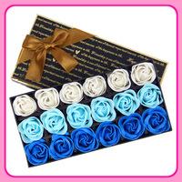 2014 chocolate box gift soap rose long square box 18 gradient