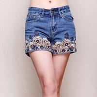 Inman akkadian shorts female summer 2014 national embroidery trend water wash denim shorts casual pants