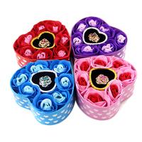 Soap flower rose gift box girlfriend birthday gift 7 pcs per heart case.