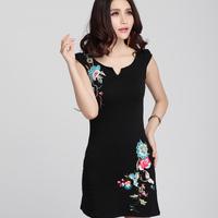 National embroidery trend one-piece dress short  2014 summer short-sleeve dress slim V-neck cheongsam