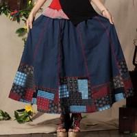 Akkadian fluid skirt bohemia national trend slim plain linen bust skirt full  pleated expansion skirt