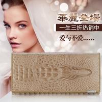 2014 women's genuine leather wallet female long design crocodile pattern wallet Lady luxurious Clutch purse bags