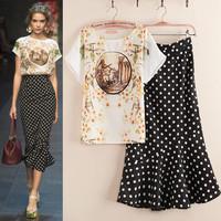 Free shipping 2014 summer new women's fashion T-shirt skirt Retro big peach chiffon shirt Polka Dot Frill Dress 2 Sets fishtail