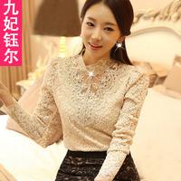 Lace shirt female long-sleeve 2014 spring women's lace basic shirt female long-sleeve top