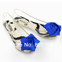 Melissa jelly shoes three-dimensional rose women's flat shoes open toe sandals shoe