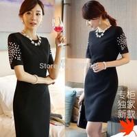 2014 new Summer Spring  Autumn fashion elegant black brief short-sleeve dress