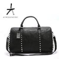 Fashion black handsome rivet bag large bag street punk female tote bags