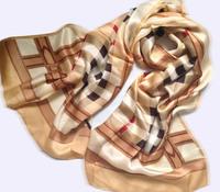 British style high-end home atmosphere B Belt Baba plaid 100% silk scarf long scarf shawl female sunscreen