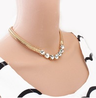 Min.order is $10 (mix order) SJB423 Fashion Gold Chain Crystal necklaces & pendants